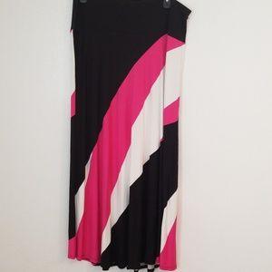 NWOT Lane Bryant Pink Black Maxi Skirt Size 18/20